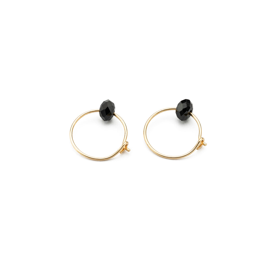 Gold Hoop Earrings Black Spinel Charm 12 mm - Simply Whispers
