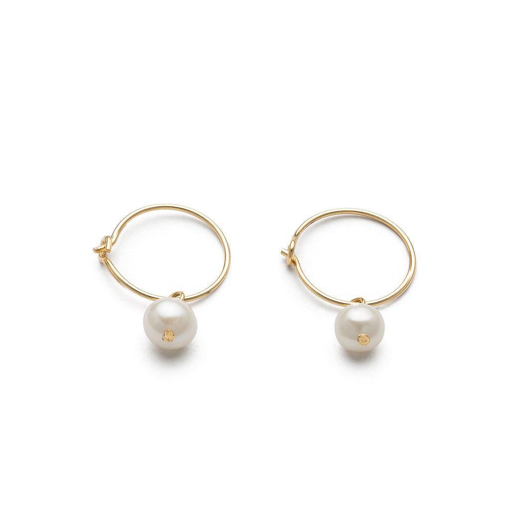 14 K Gold Pearl Charm 12 mm Hoop Earrings - Simply Whispers