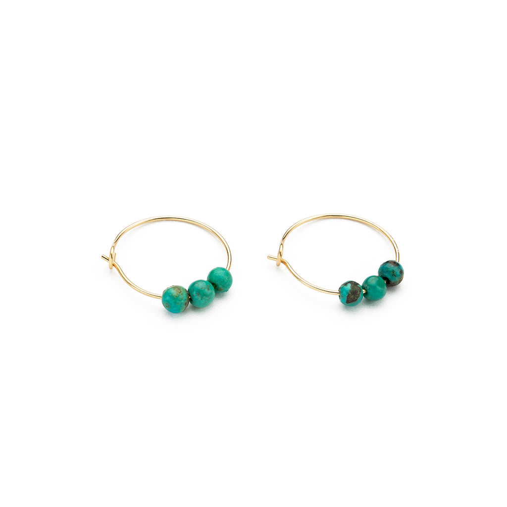 14k Gold Turquoise Charm Hoop Earrings - Simply Whispers