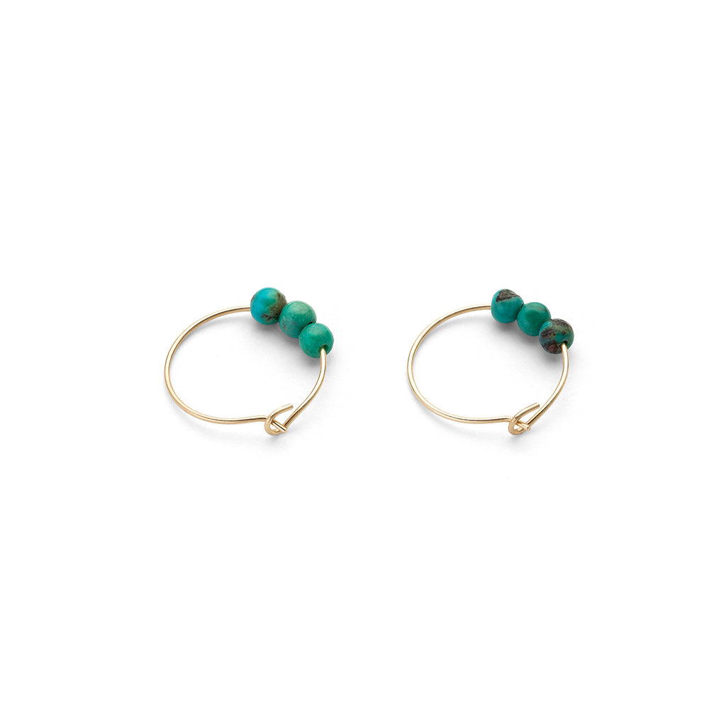 14 K Gold Turquoise Charm 12 mm Hoop Earrings - Simply Whispers