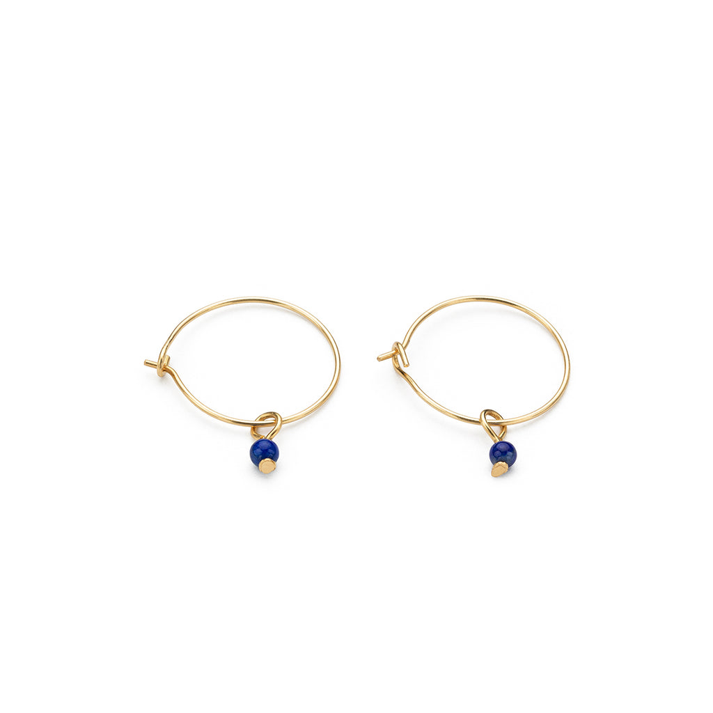14 K Gold Blue Lapis Charm 12 mm Hoop Earrings - Simply Whispers