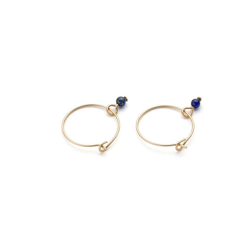 Gold Hoop Earrings Blue Lapis Charm 12 mm - Simply Whispers