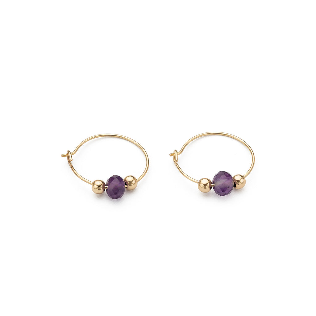 14 K Gold Amethyst Charm 12 mm Hoop Earrings - Simply Whispers