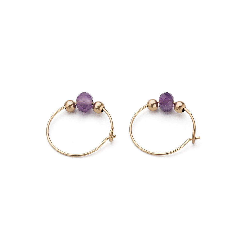 Gold Hoop Earrings Amethyst Charm 12 mm - Simply Whispers
