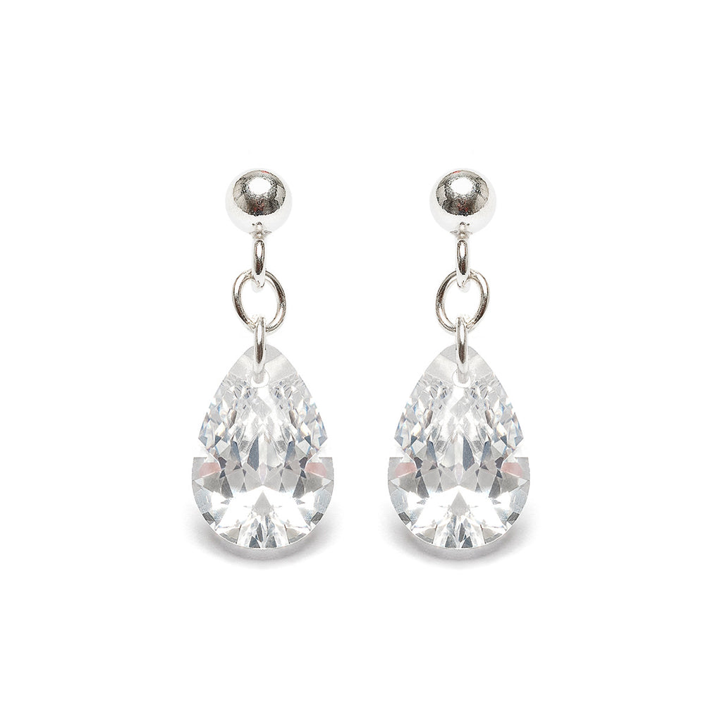 Sterling Silver Crystal Teardrop Earrings - Simply Whispers