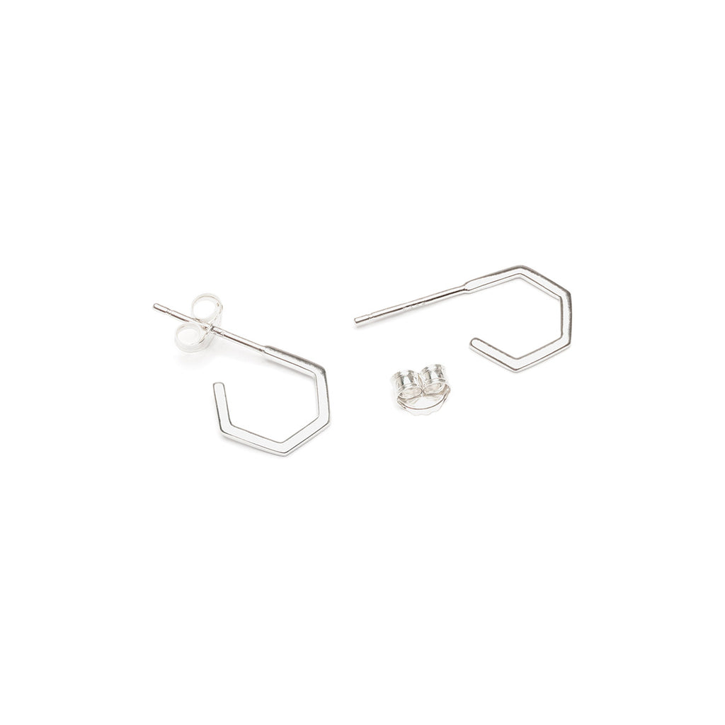 Silver Hexagon Hoop Earrings - Simply Whispers