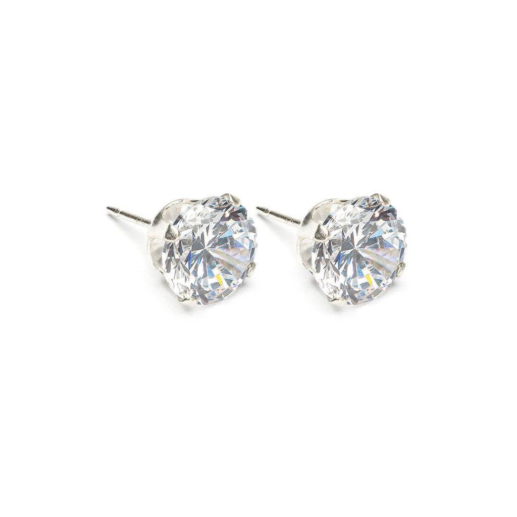 Sterling Silver 8 mm Round Cubic Zirconia Stud Earrings - Simply Whispers