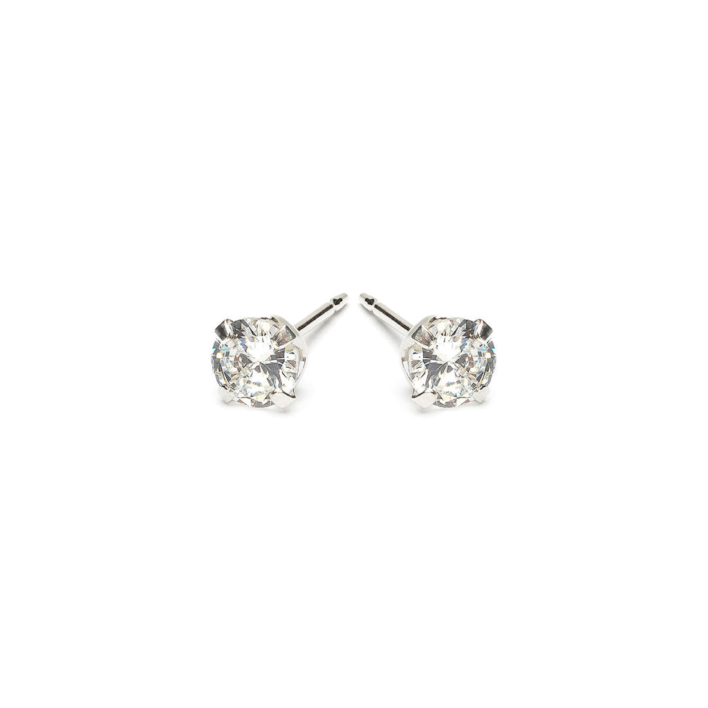 Sterling Silver 4 mm Round Cubic Zirconia Stud Earrings - Simply Whispers