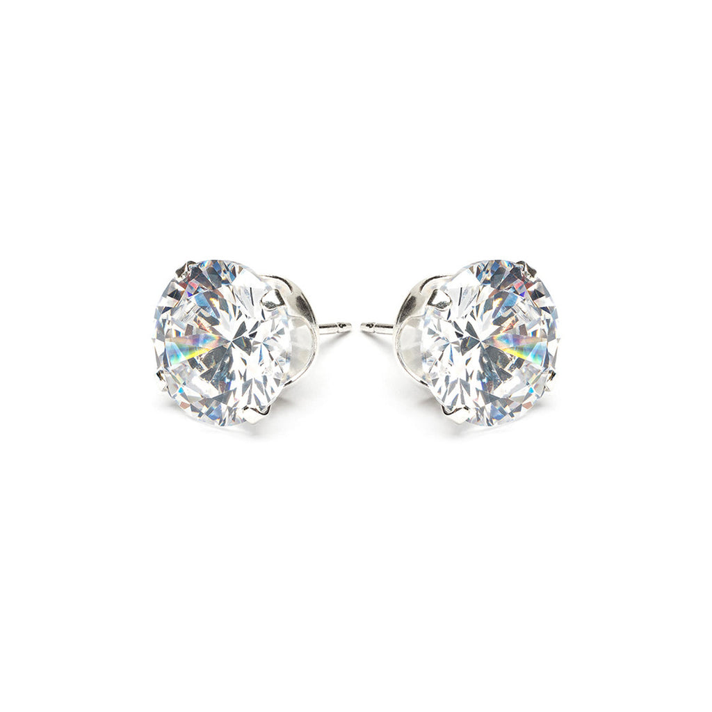 925 Sterling Silver 10 mm Round Cubic Zirconia Stud Earrings - Simply Whispers