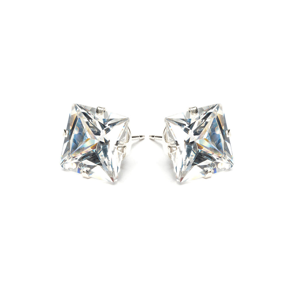 Sterling Silver 10 mm Square Cubic Zirconia Stud Earrings - Simply Whispers