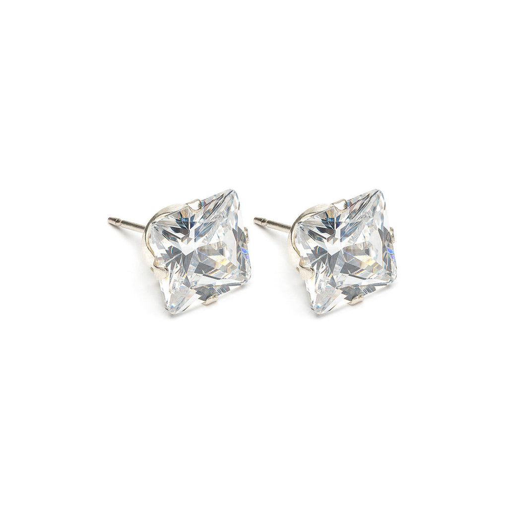 925 Sterling Silver 8 mm Square Cubic Zirconia Stud Earrings - Simply Whispers
