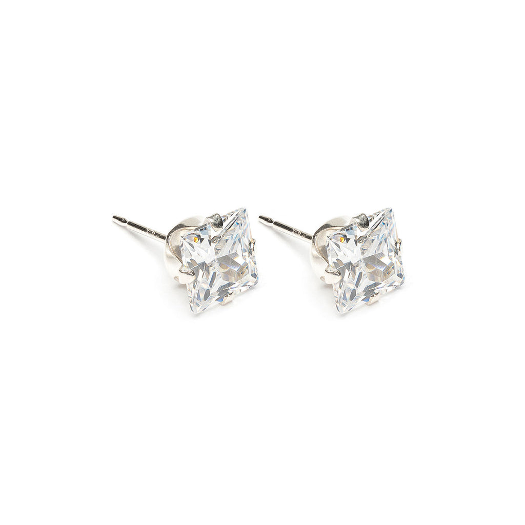 Sterling Silver 6 mm Square Cubic Zirconia Stud Earrings - Simply Whispers