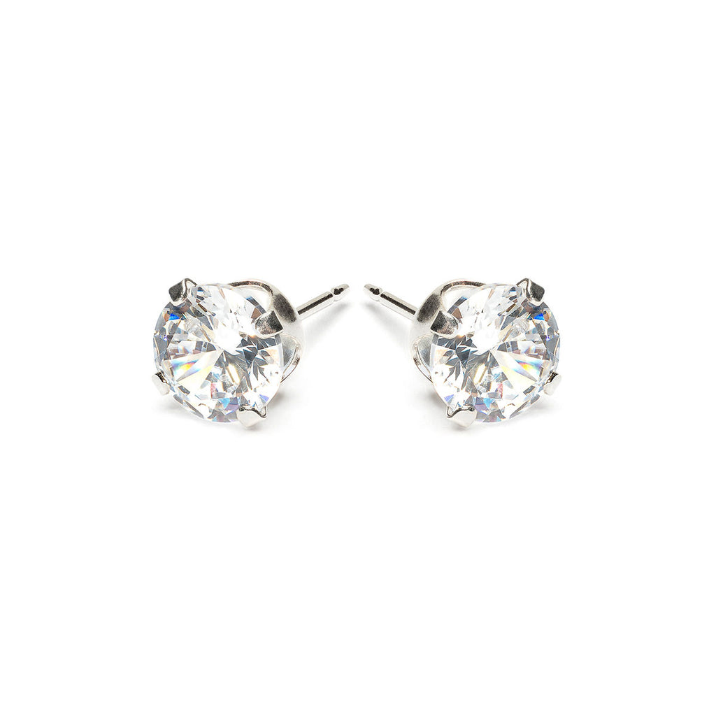 Sterling Silver 6 mm Round Cubic Zirconia Stud Earrings - Simply Whispers