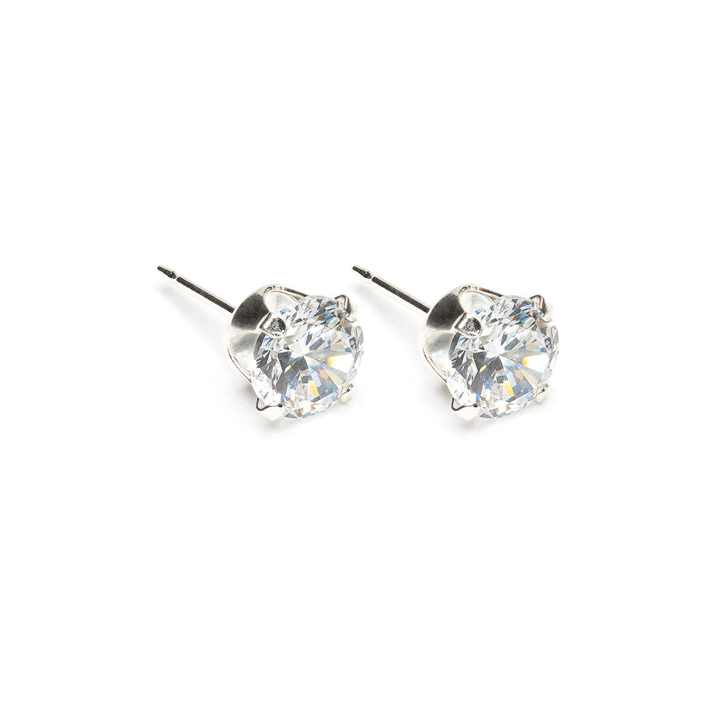 925 Sterling Silver 6 mm Round Cubic Zirconia Stud Earrings - Simply Whispers