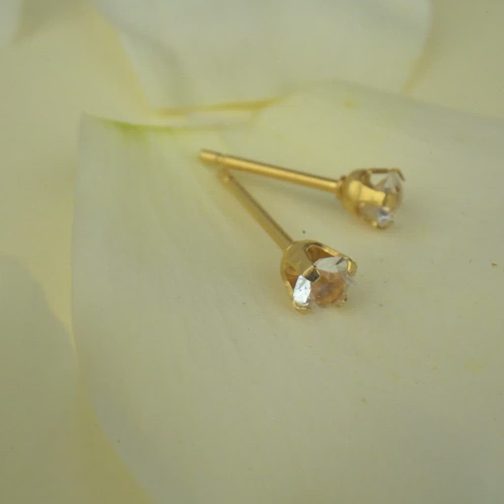 April Birthstone 14k Gold Plated Stud Earrings