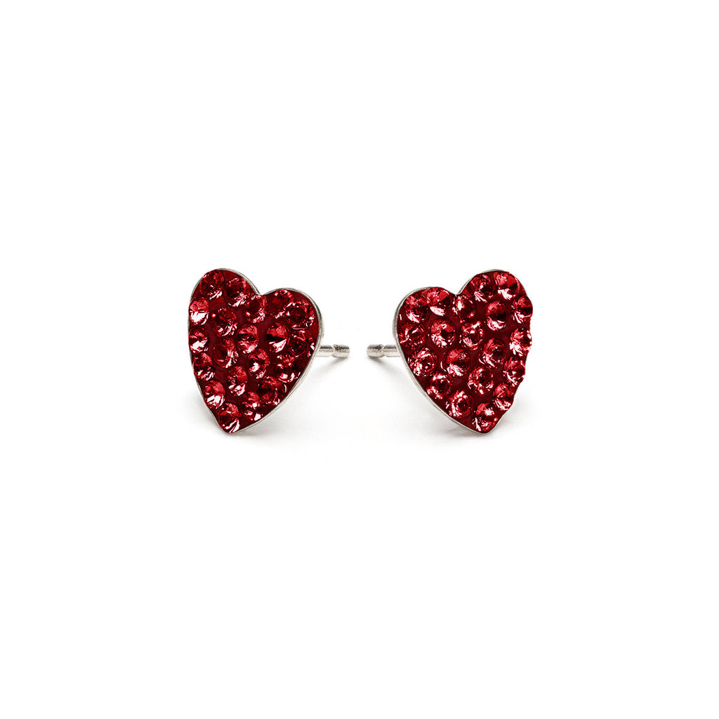 Stainless Steel 8 mm January Pave Heart Stud Earrings - Simply Whispers