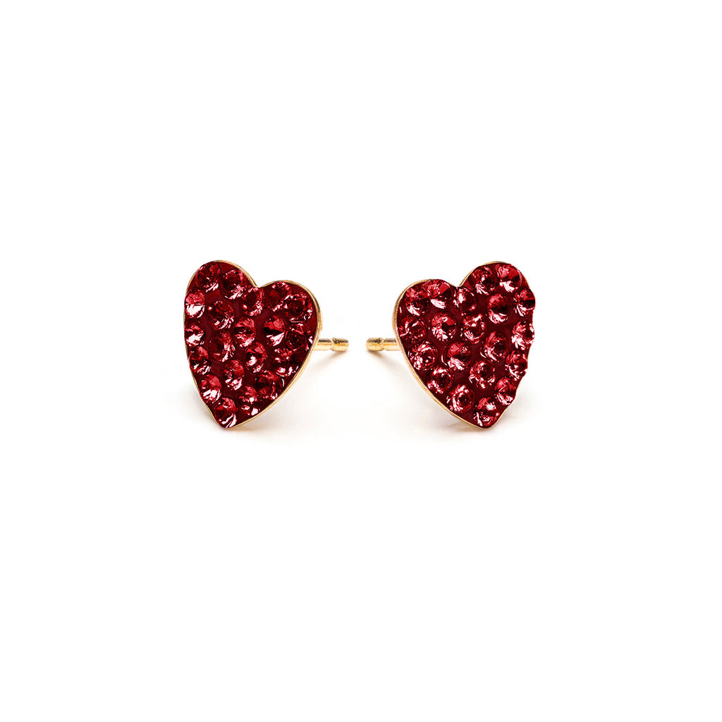 Gold Plated 8 mm January Pave Heart Stud Earrings - Simply Whispers