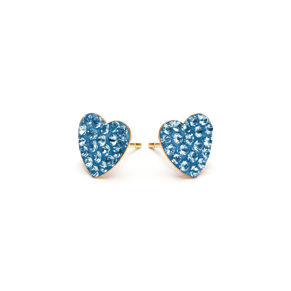 Gold Plated 8 mm March Pave Heart Stud Earrings - Simply Whispers