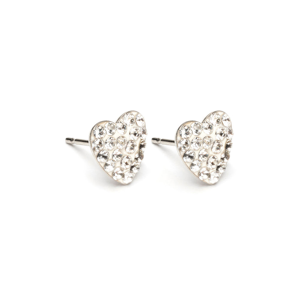 Stainless Steel 8 mm April Pave Heart Stud Earrings - Simply Whispers