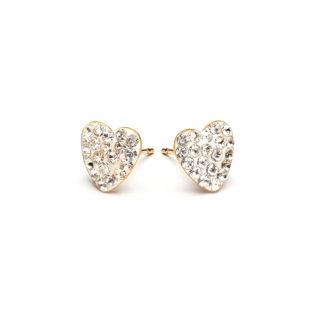 White Pave Heart Earrings Gold Plated - Simply Whispers
