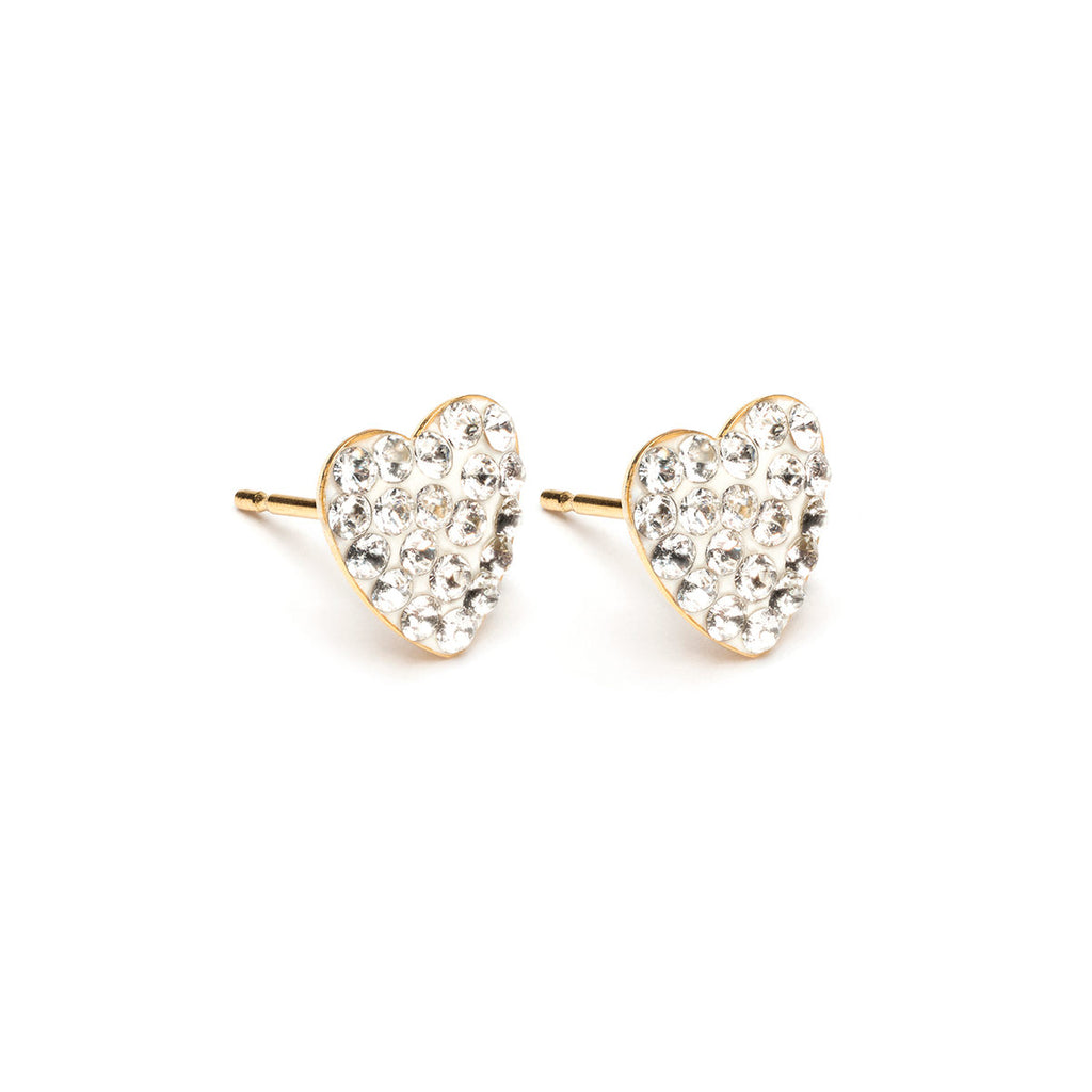 Gold Plated 8 mm April Pave Heart Stud Earrings - Simply Whispers