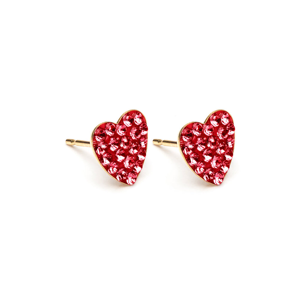 Red Pave Heart Earrings Gold Plated - Simply Whispers