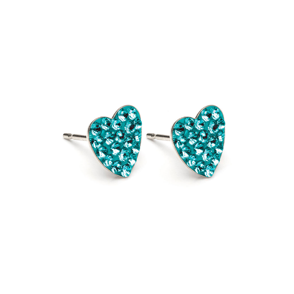Stainless Steel 8 mm December Pave Heart Stud Earrings - Simply Whispers