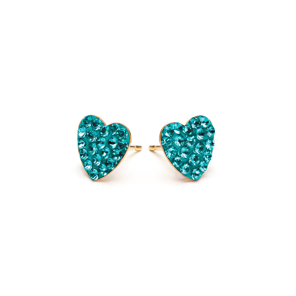 Gold Plated 8 mm December Pave Heart Stud Earrings - Simply Whispers