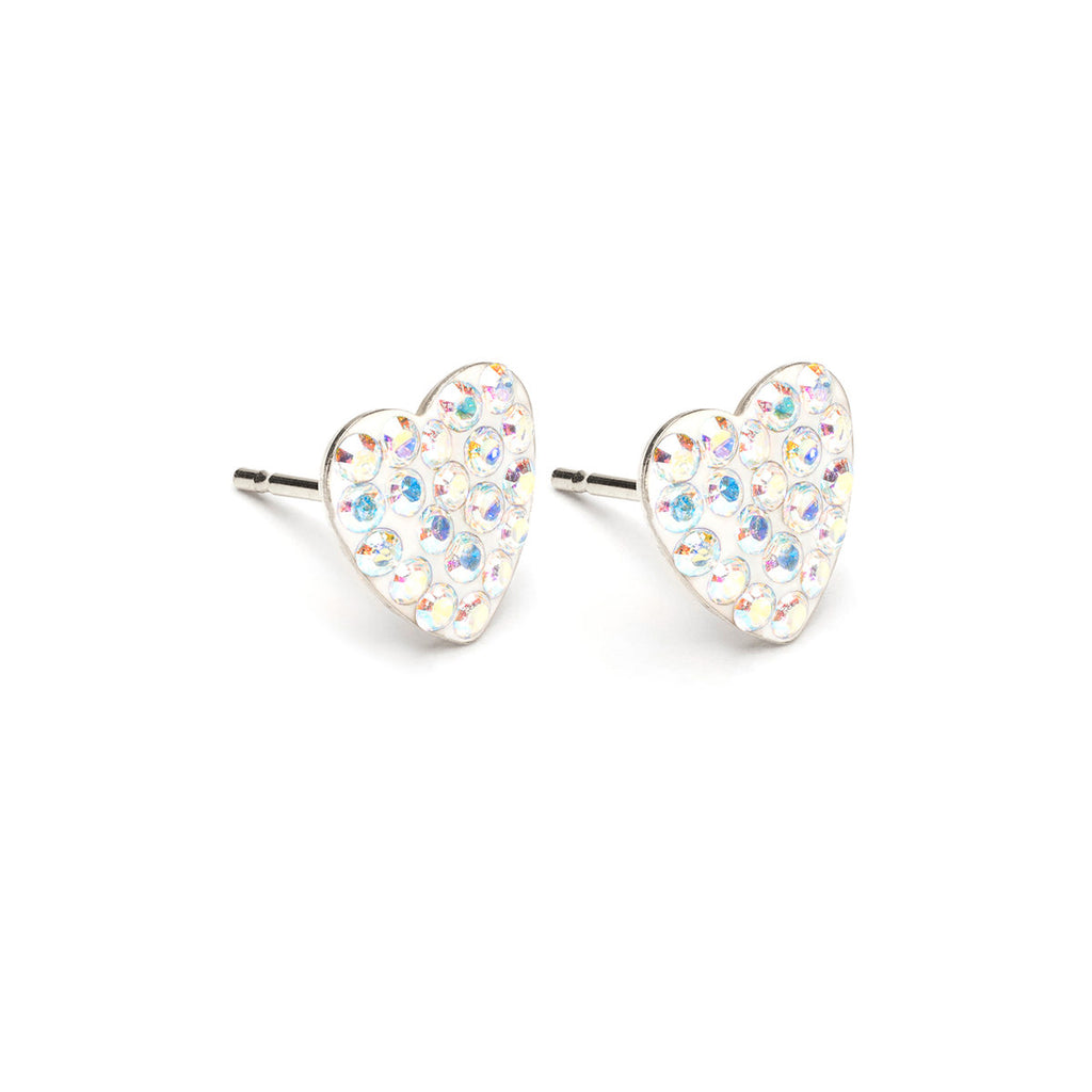 Stainless Steel 8 mm Aurora Borealis Pave Heart Stud Earrings - Simply Whispers