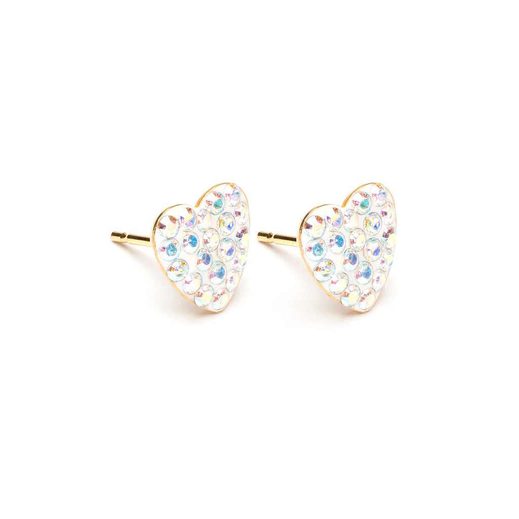 Gold Plated 8 mm Aurora Borealis Pave Heart Stud Earrings - Simply Whispers