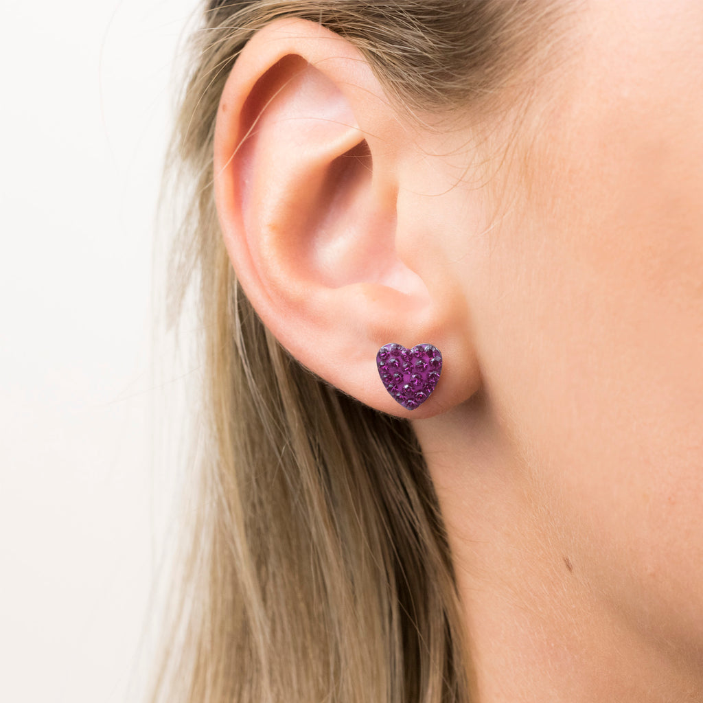 Stainless Steel 8 mm Fuchsia Pave Heart Stud Earrings - Simply Whispers