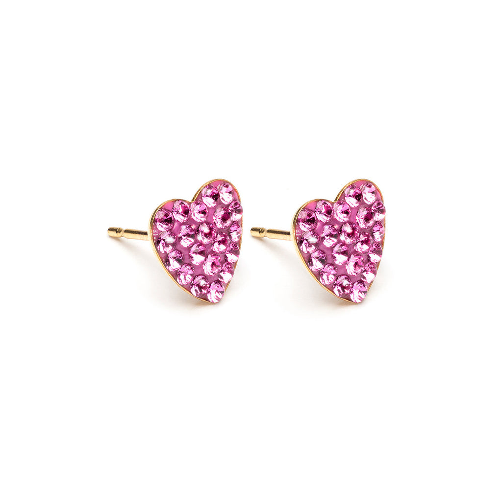 Gold Plated 8 mm Fuchsia Pave Heart Stud Earrings - Simply Whispers