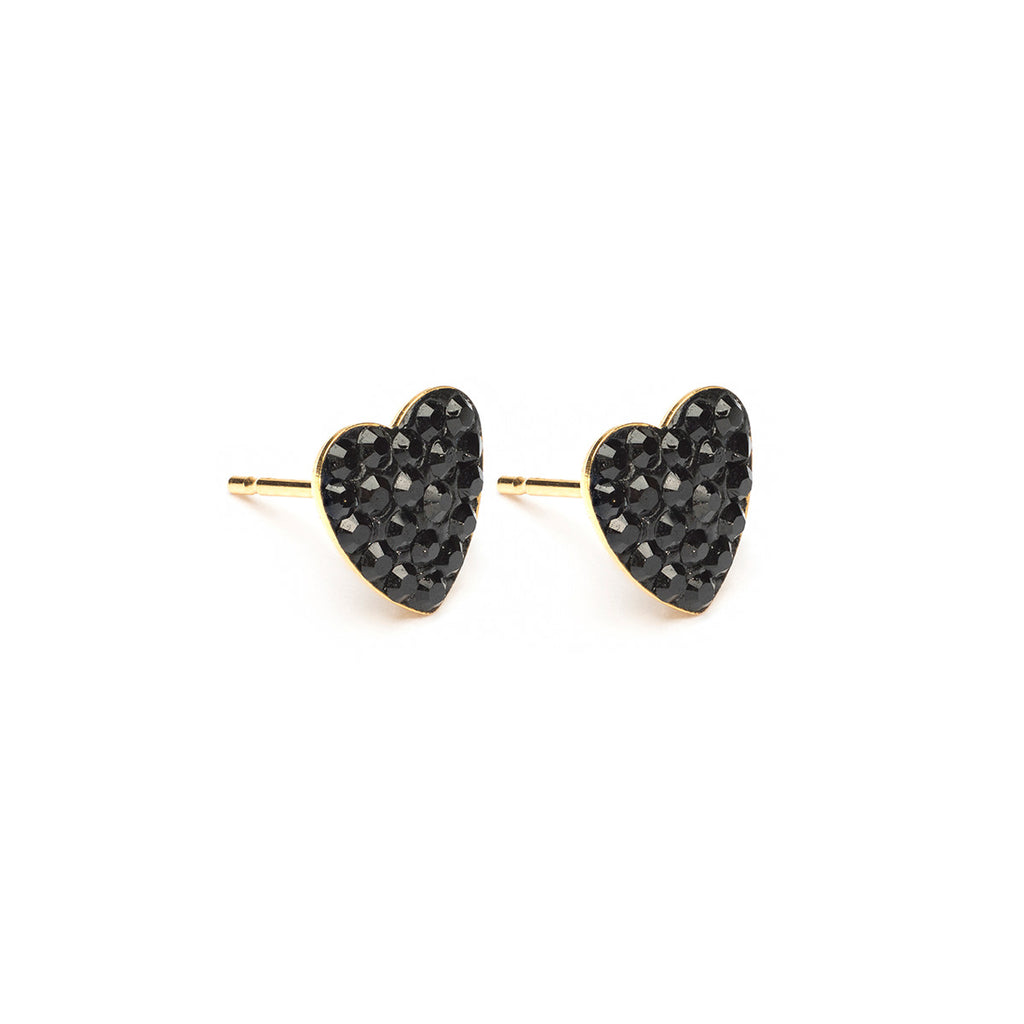 Gold Plated 8 mm Jet Pave Heart Stud Earrings - Simply Whispers