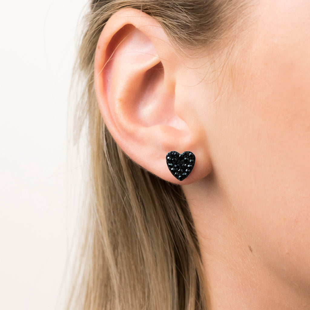 Gold Plated 8 mm Black Pave Heart Stud Earrings - Simply Whispers