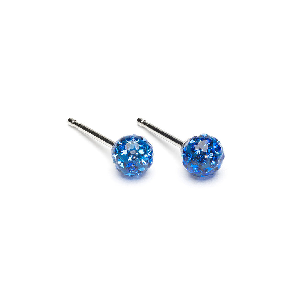 Stainless Steel 4.5 mm Sapphire Fireball Stud Earrings - Simply Whispers