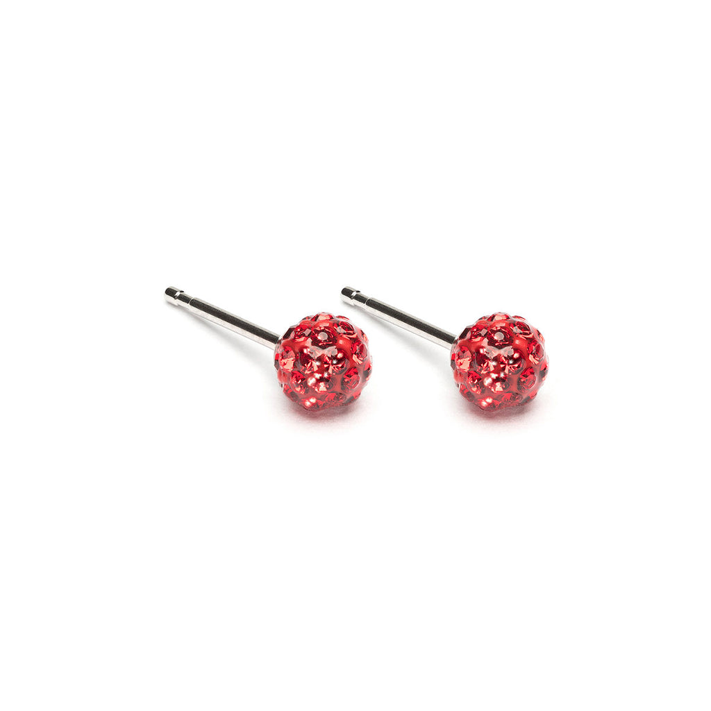 Stainless Steel 4.5 mm Red Fireball Stud Earrings - Simply Whispers