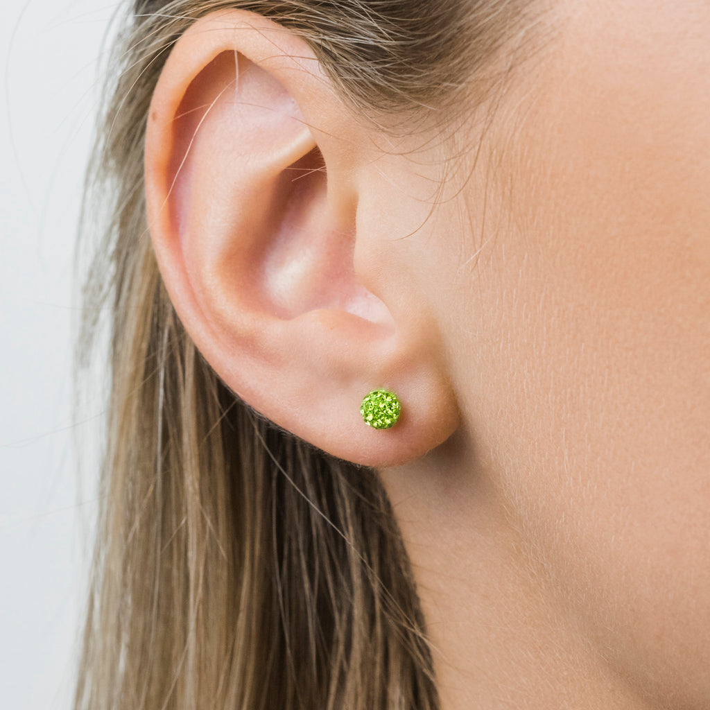 Stainless Steel 4.5 mm Peridot Fireball Stud Earrings - Simply Whispers