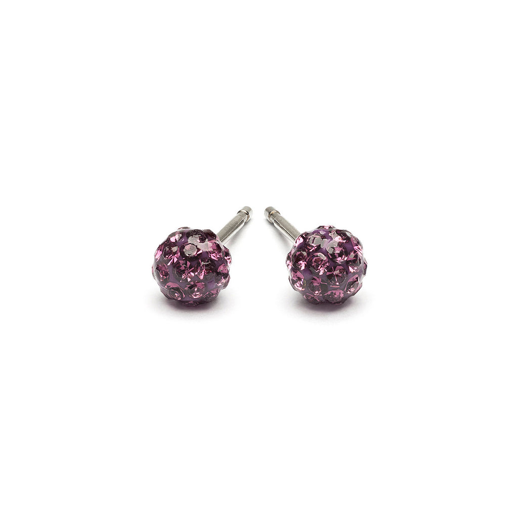 Stainless Steel 4.5 mm Amethyst Fireball Stud Earrings - Simply Whispers