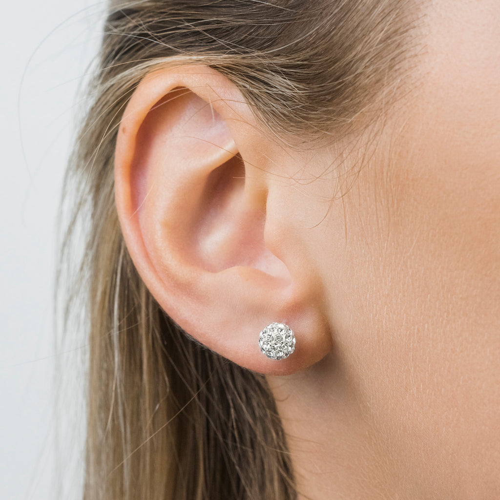 Stainless Steel 6 mm Crystal Fireball Stud Earrings - Simply Whispers