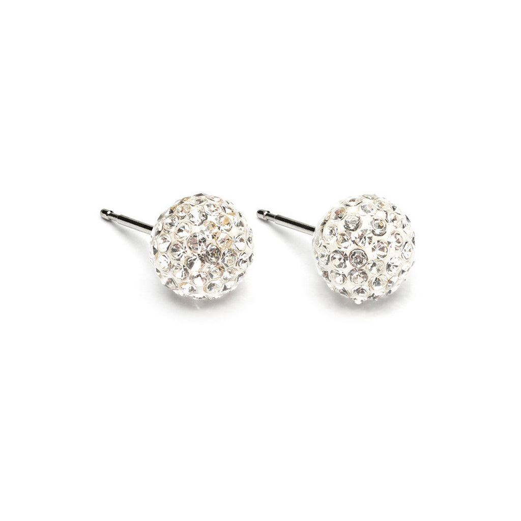 Stainless Steel 8 mm Crystal Fireball Stud Earrings - Simply Whispers