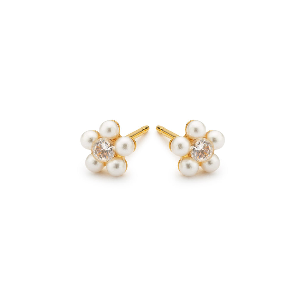 Pearl & Crystal Flower Earrings - Simply Whispers