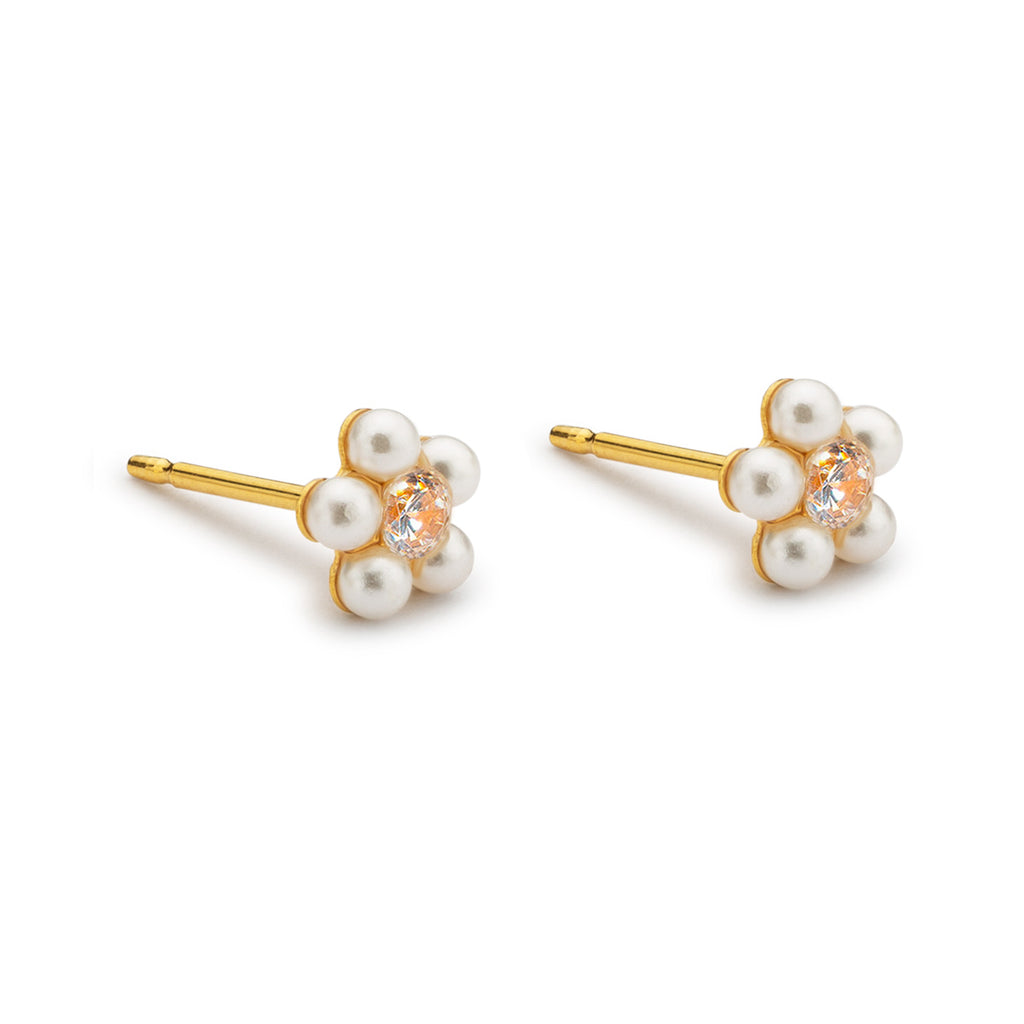 Gold plated pearl and crystal daisy stud earrings - Simply Whispers