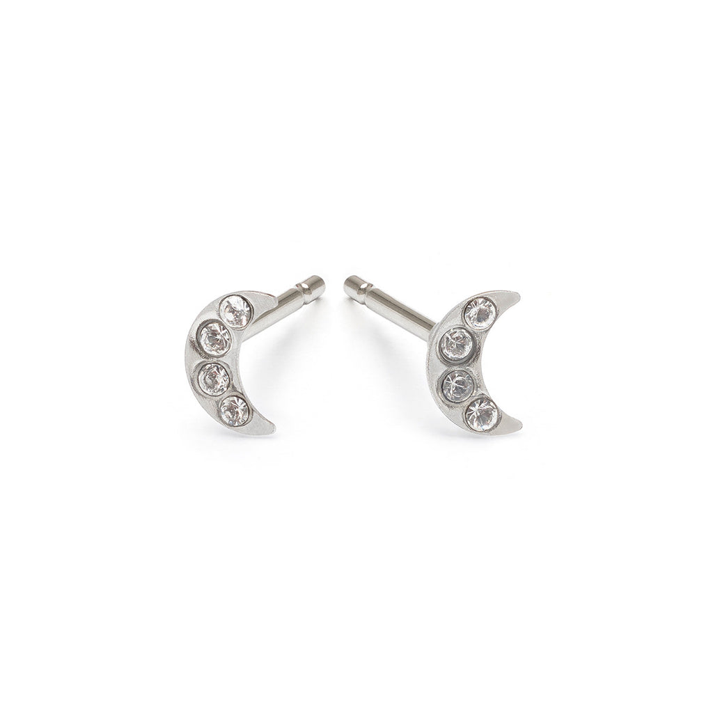 Mini Moon Stud Earrings - Simply Whispers