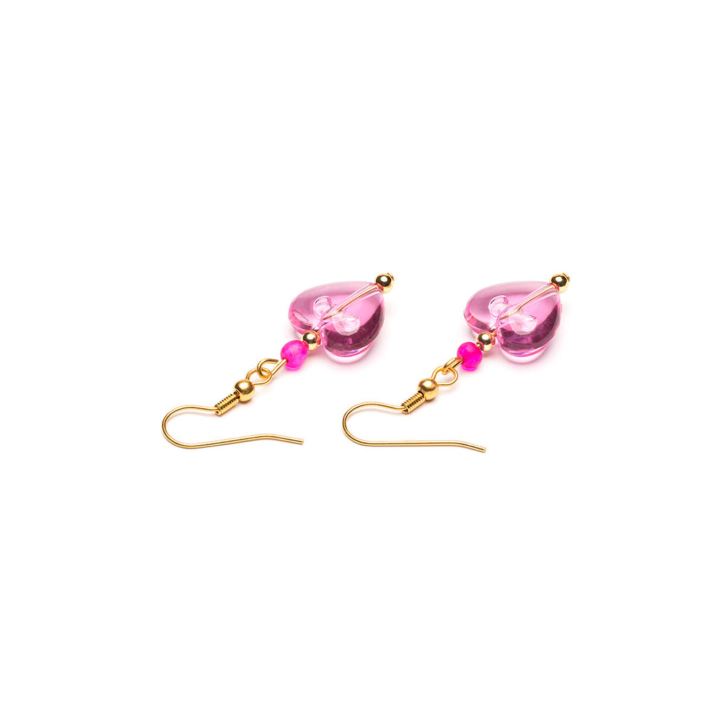 Gold Plated Pink Heart French Hook Earrings - Simply Whispers