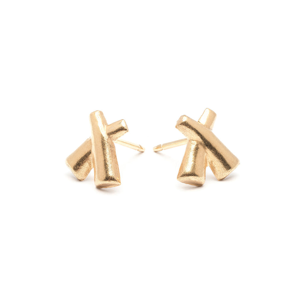 Gold Plated X Shape Stud Earrings - Simply Whispers