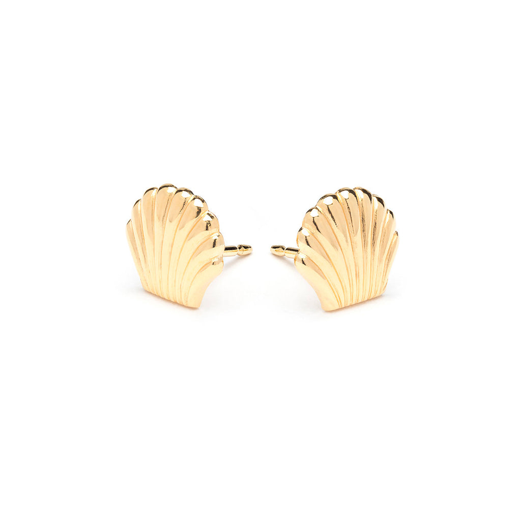 Gold Plated Seashell Tiny Stud Earrings - Simply Whispers
