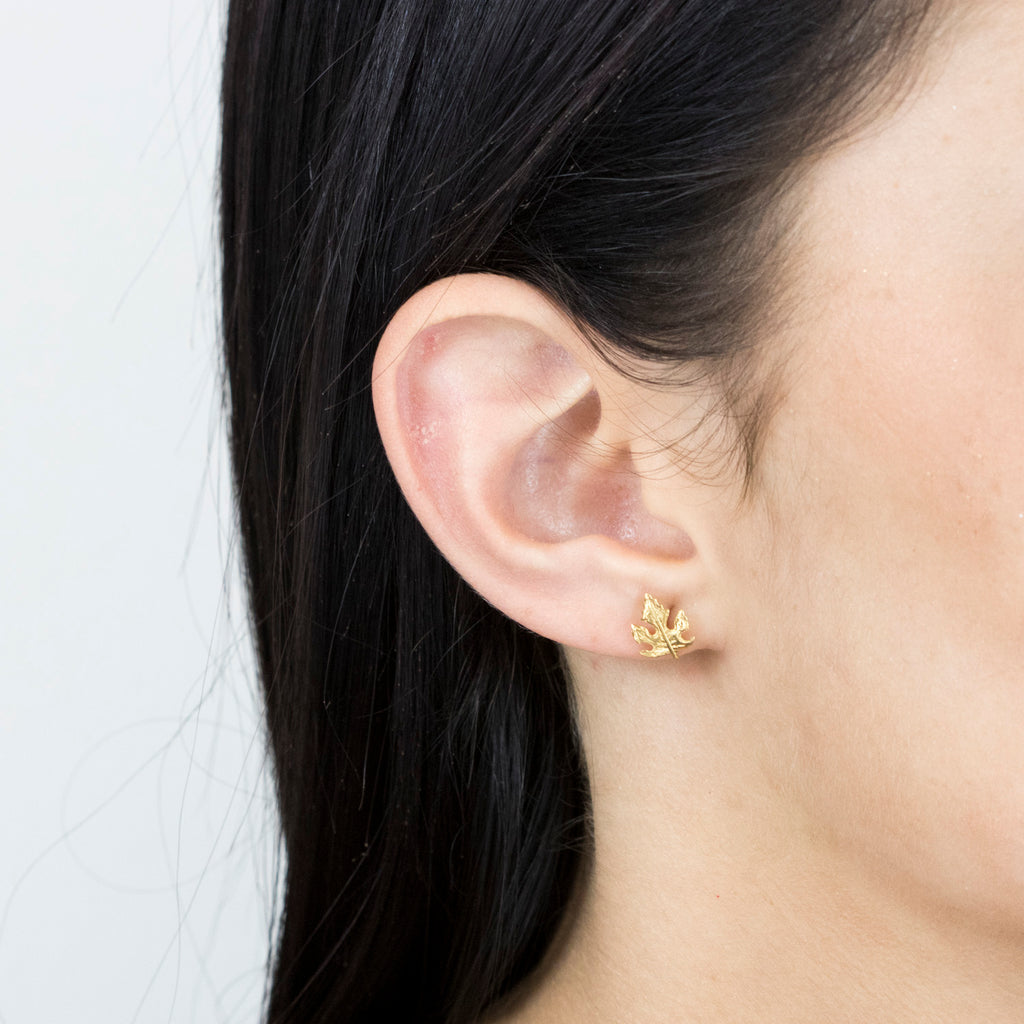 Gold Plated Maple Leaf Stud Earrings - Simply Whispers