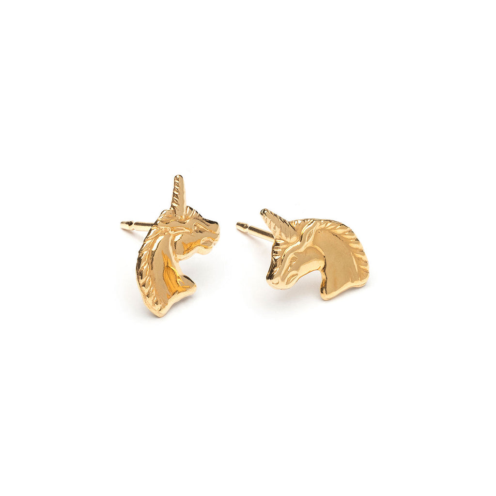 Gold Plated Unicorn Stud Earrings - Simply Whispers