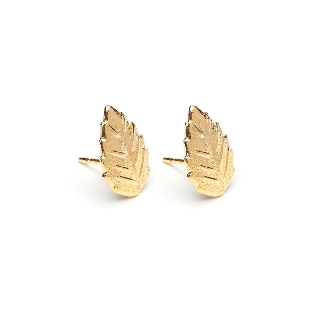 Gold Plated Elm Leaf Stud Earrings - Simply Whispers