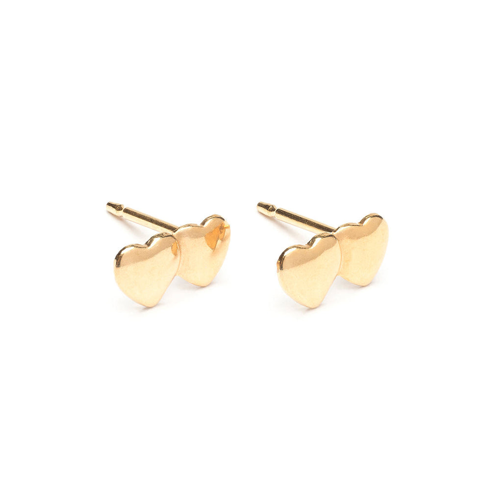 Gold Plated Double Heart Stud Earrings - Simply Whispers
